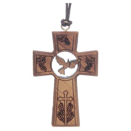 Kreuz aus Olivenbaumholz mit den Symbolen von Erstkommunion und Firmung 5 cm 1