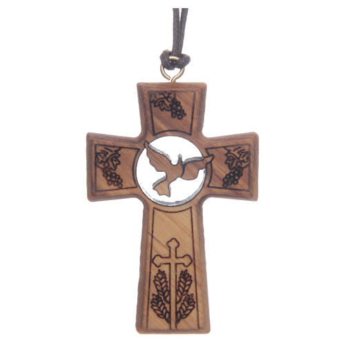Olive wood cross with Communion and Confirmation symbols 5 cm 1