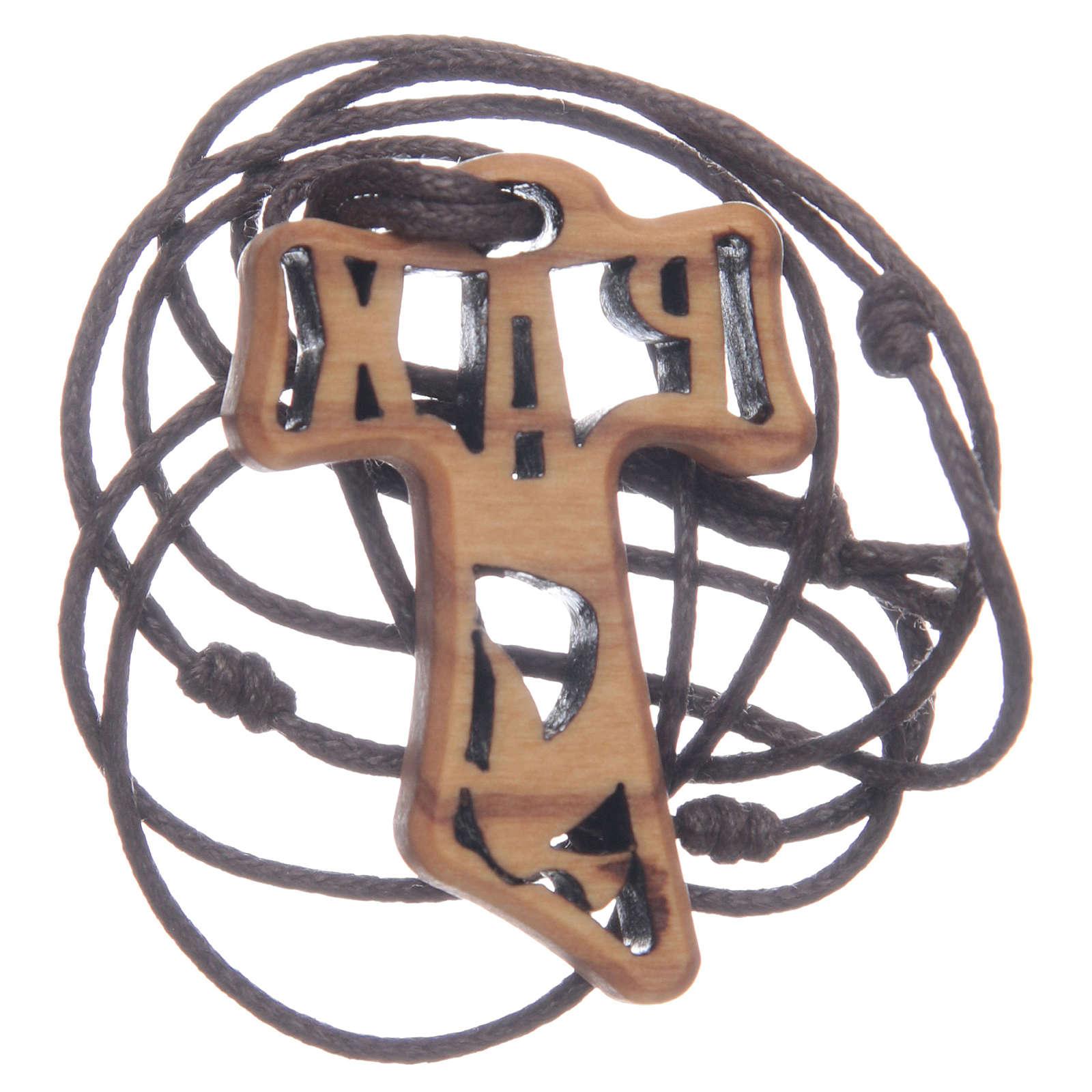 Kreuz aus Olivenbaumholz in Tau-Form durchbrochen gearbeitet mit dem Motiv der Firmung 4 cm 4