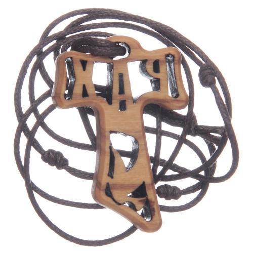 Kreuz aus Olivenbaumholz in Tau-Form durchbrochen gearbeitet mit dem Motiv der Firmung 4 cm 2