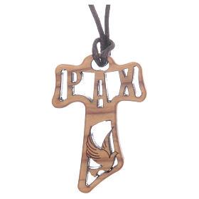 Croce Tau legno olivo traforata simboli Cresima cm 4 s1