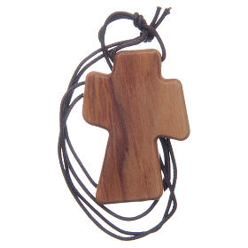 Olive wood cross with Holy Spirit in relief 5 cm s2