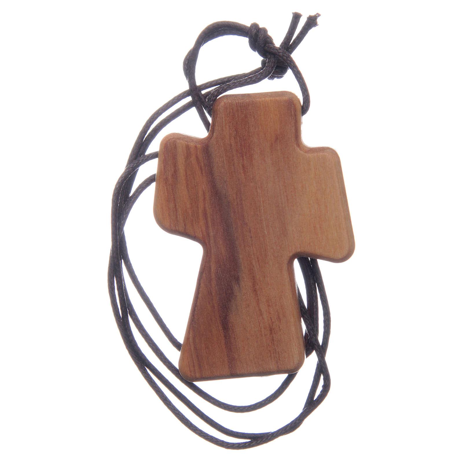 Cruz madera olivo Espíritu Santo relieve 5 cm 4