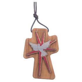 Cruz madera olivo Espíritu Santo relieve 5 cm s1