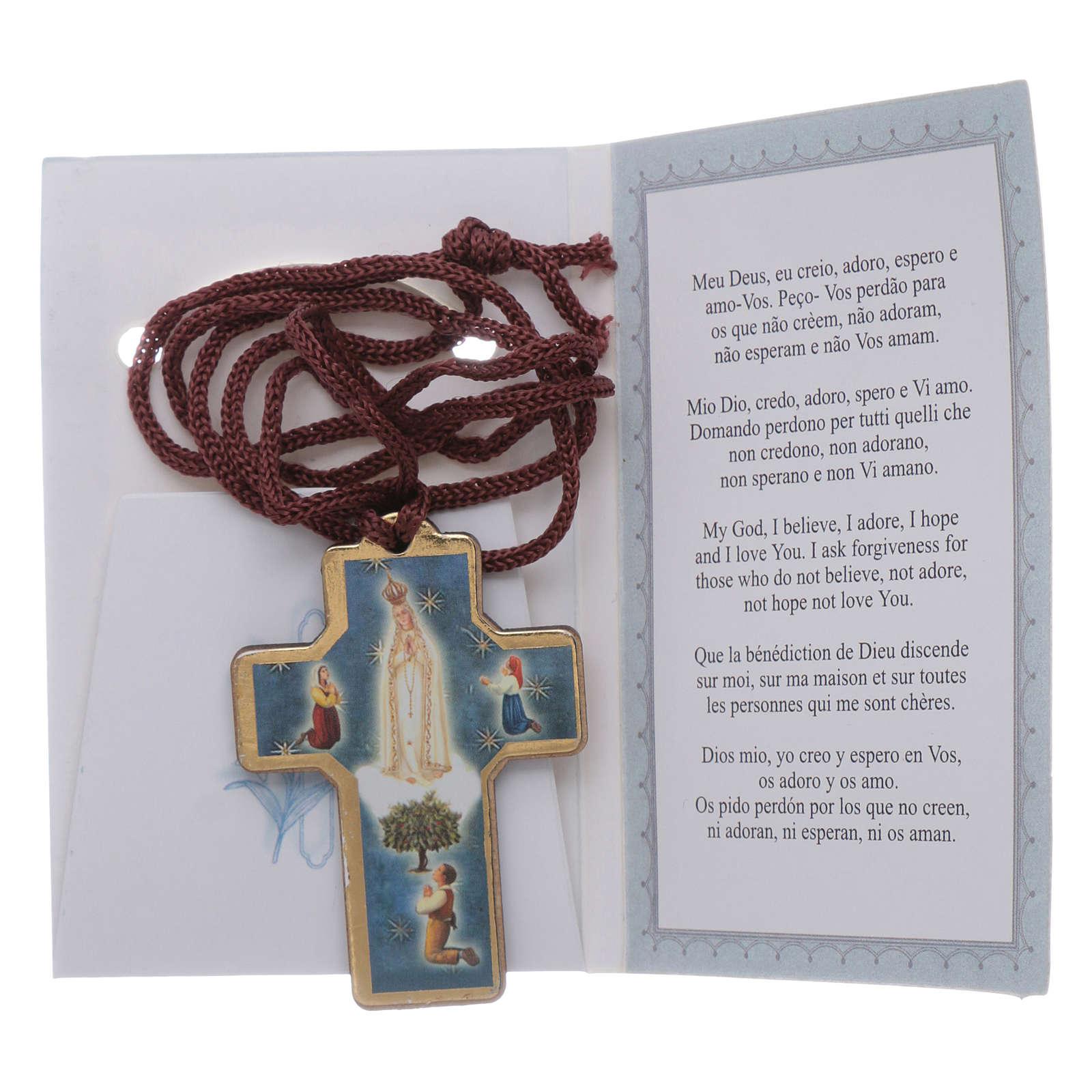 Cruz de Fátima madera con colgante y librito oración 4
