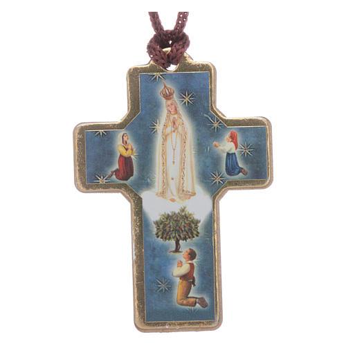 Cruz de Fátima madera con colgante y librito oración 1