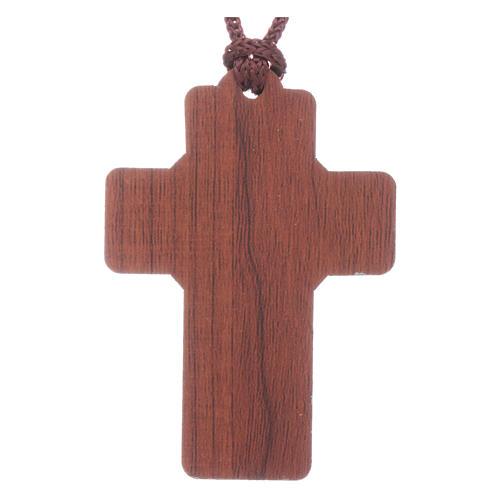 Cruz de Fátima madera con colgante y librito oración 2