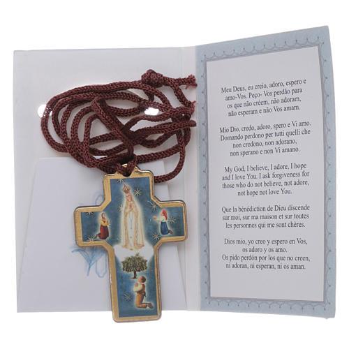 Cruz de Fátima madera con colgante y librito oración 3
