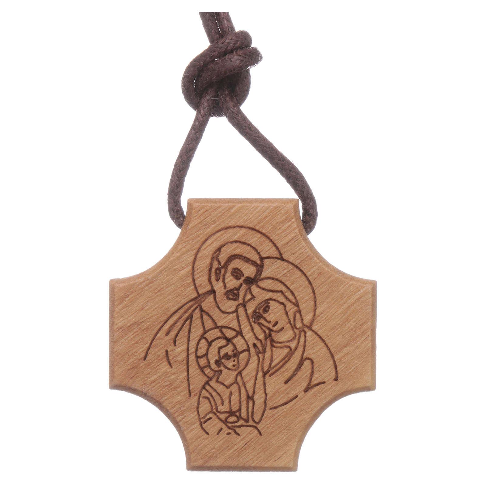 STOCK Pendente croce olivo incisione Sacra Famiglia 4