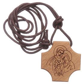 STOCK Pendente croce olivo incisione Sacra Famiglia s3