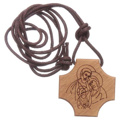 STOCK Pendente croce olivo incisione Sacra Famiglia 3