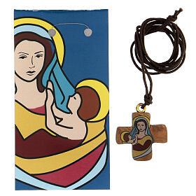 Croce ulivo con Madonna e Bambino 3 cm s2