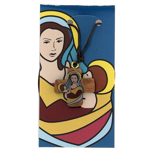 Croce ulivo con Madonna e Bambino 3 cm 1