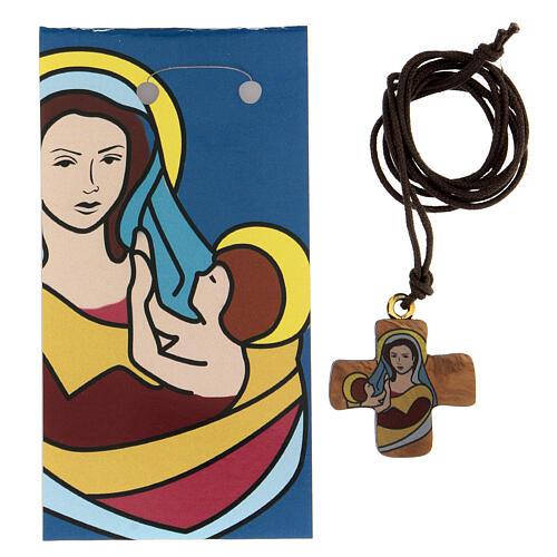 Croce ulivo con Madonna e Bambino 3 cm 2