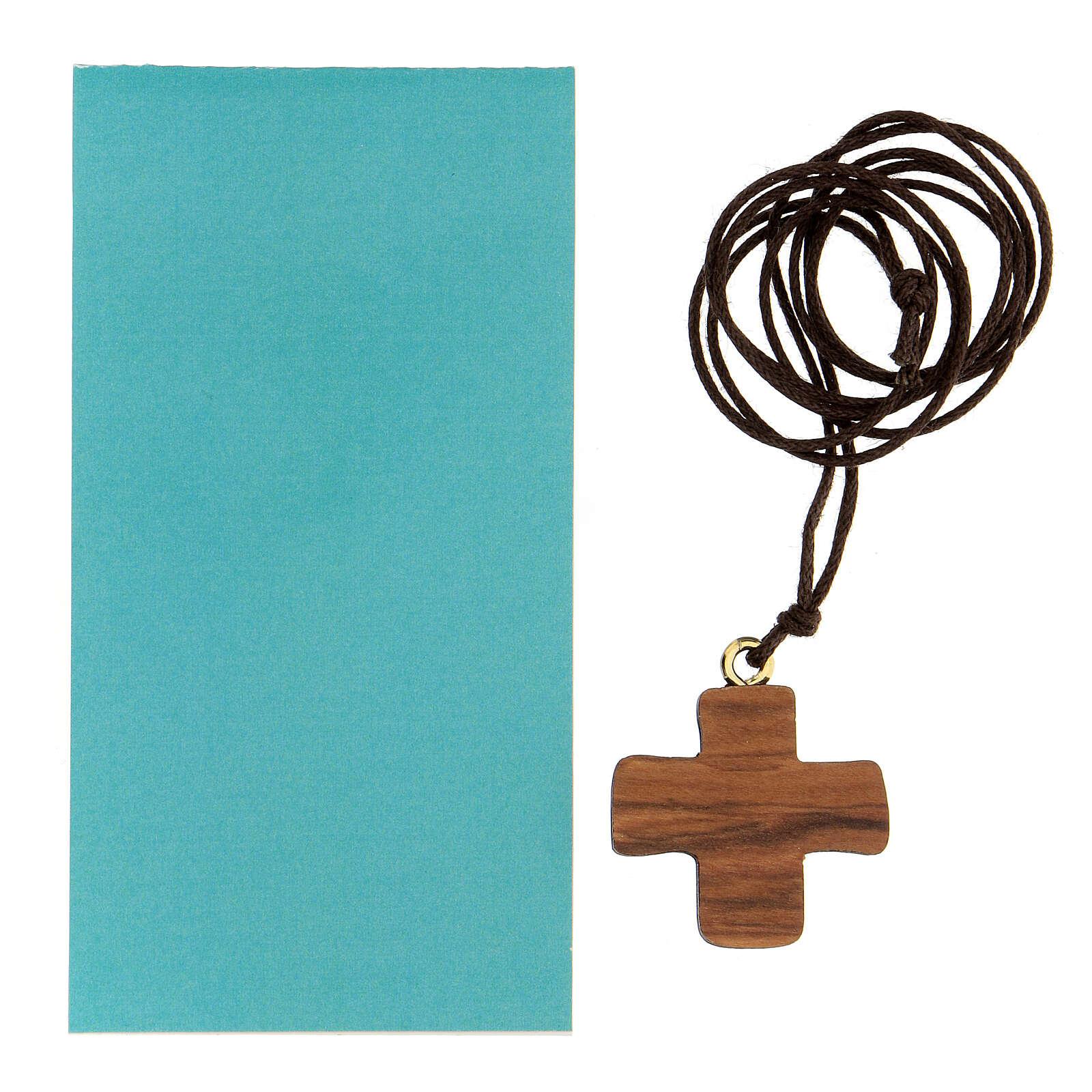 Croce legno ulivo con colomba 3 cm 4