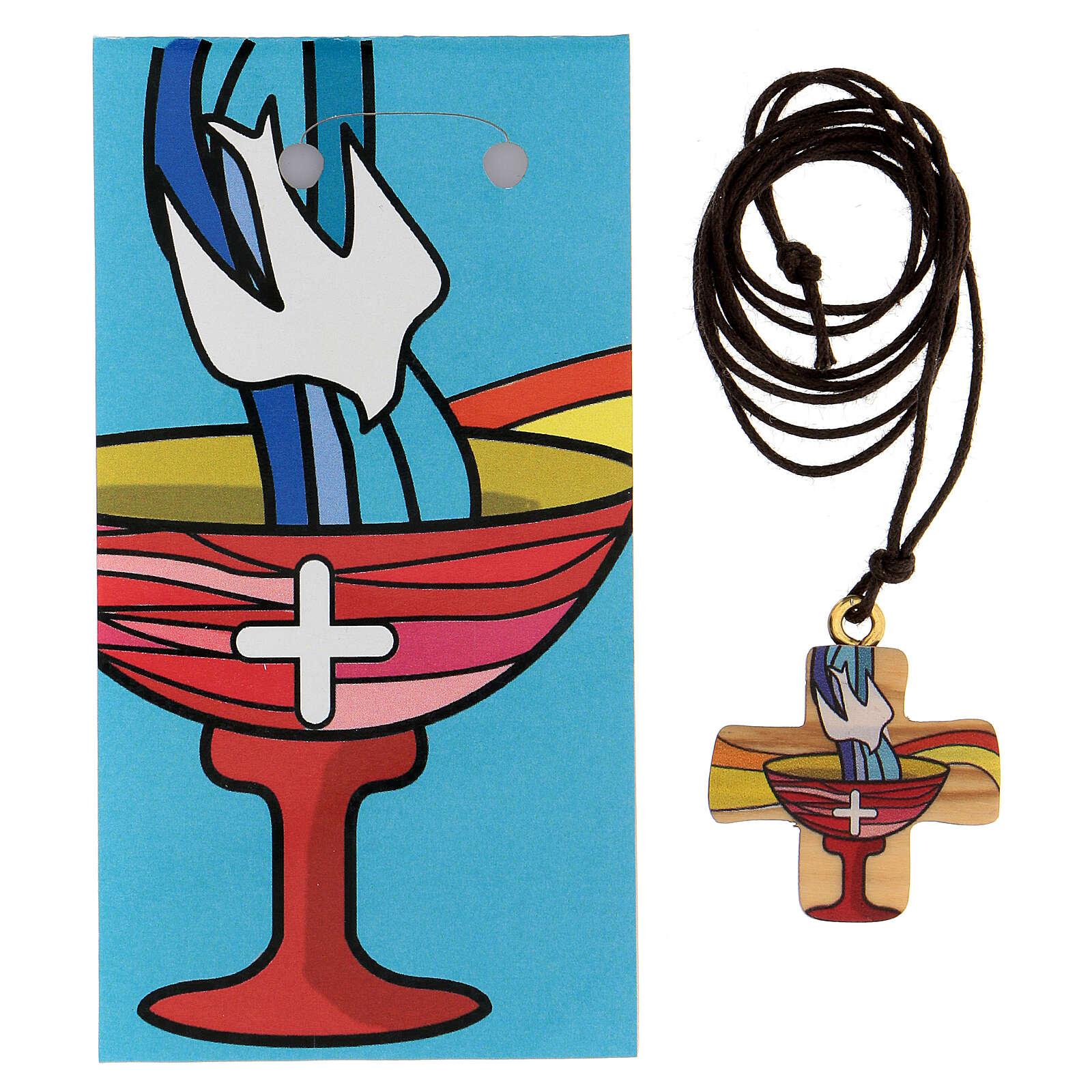 Cruz madera olivo símbolo bautismo 3 cm 4