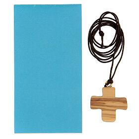 Cruz madera olivo símbolo bautismo 3 cm s3