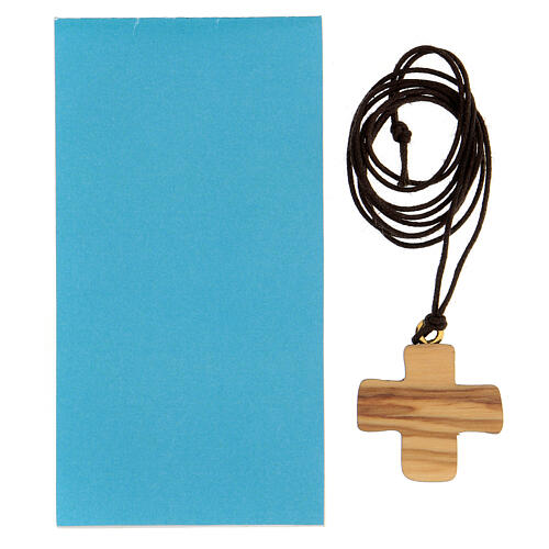 Cruz madera olivo símbolo bautismo 3 cm 3