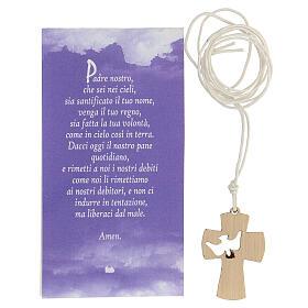 Ciondolo croce con preghiera Papa Francesco legno 2.5 cm s3