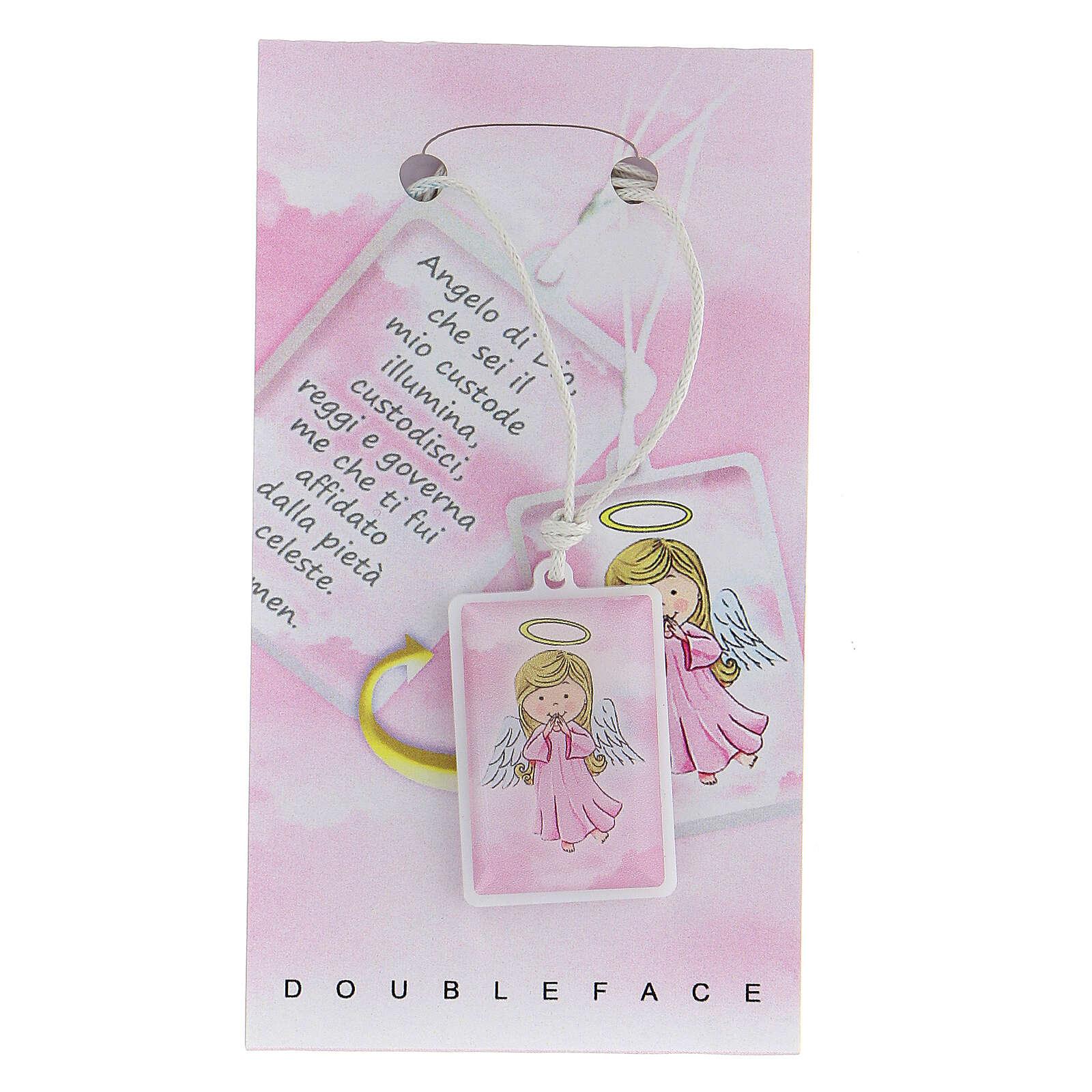 Colgante plexiglás rosa oración Ángel de Dios 3 cm 4
