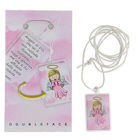 Colgante plexiglás rosa oración Ángel de Dios 3 cm s2