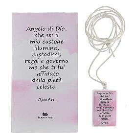 Colgante plexiglás rosa oración Ángel de Dios 3 cm s3