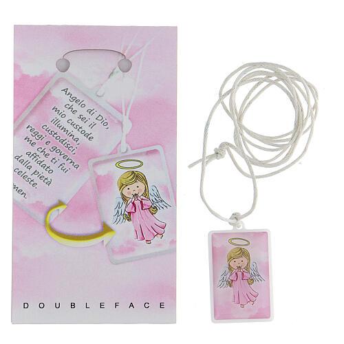 Colgante plexiglás rosa oración Ángel de Dios 3 cm 2