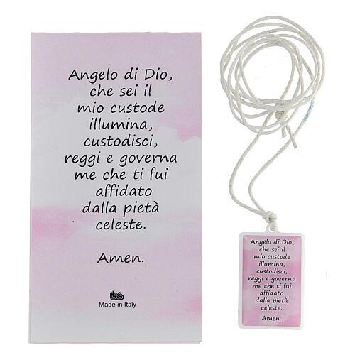 Colgante plexiglás rosa oración Ángel de Dios 3 cm 3