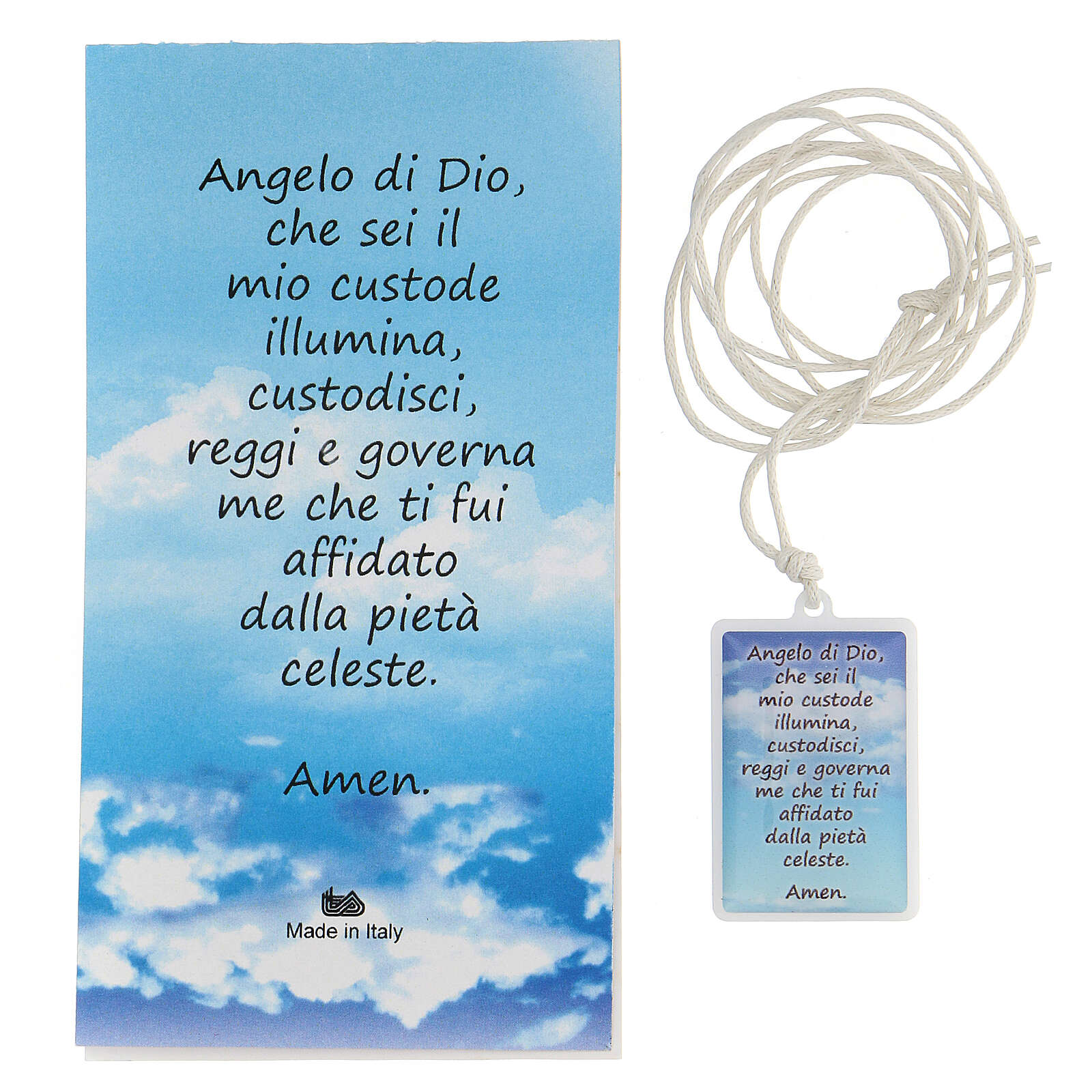 Colgante Ángel de Dios plexiglás fondo azul 3 cm 4