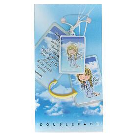 Colgante Ángel de Dios plexiglás fondo azul 3 cm s1