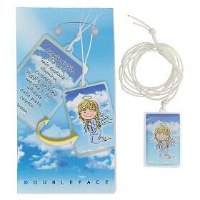 Colgante Ángel de Dios plexiglás fondo azul 3 cm s2