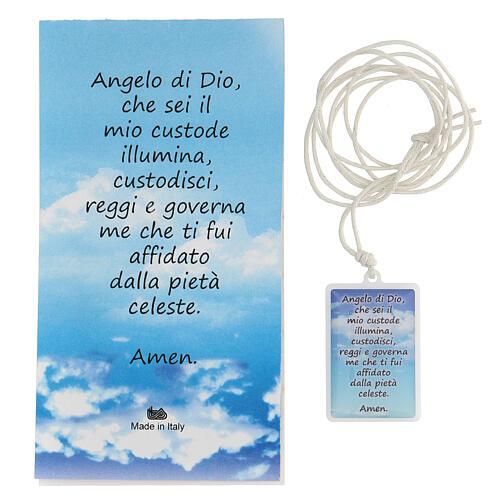 Colgante Ángel de Dios plexiglás fondo azul 3 cm 3