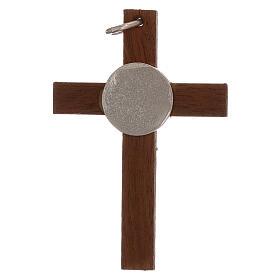 Cruz de madera y cuerpo Cristo 4 cm plata 925 s2