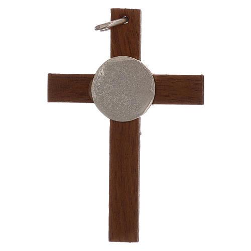 Cruz de madera y cuerpo Cristo 4 cm plata 925 2