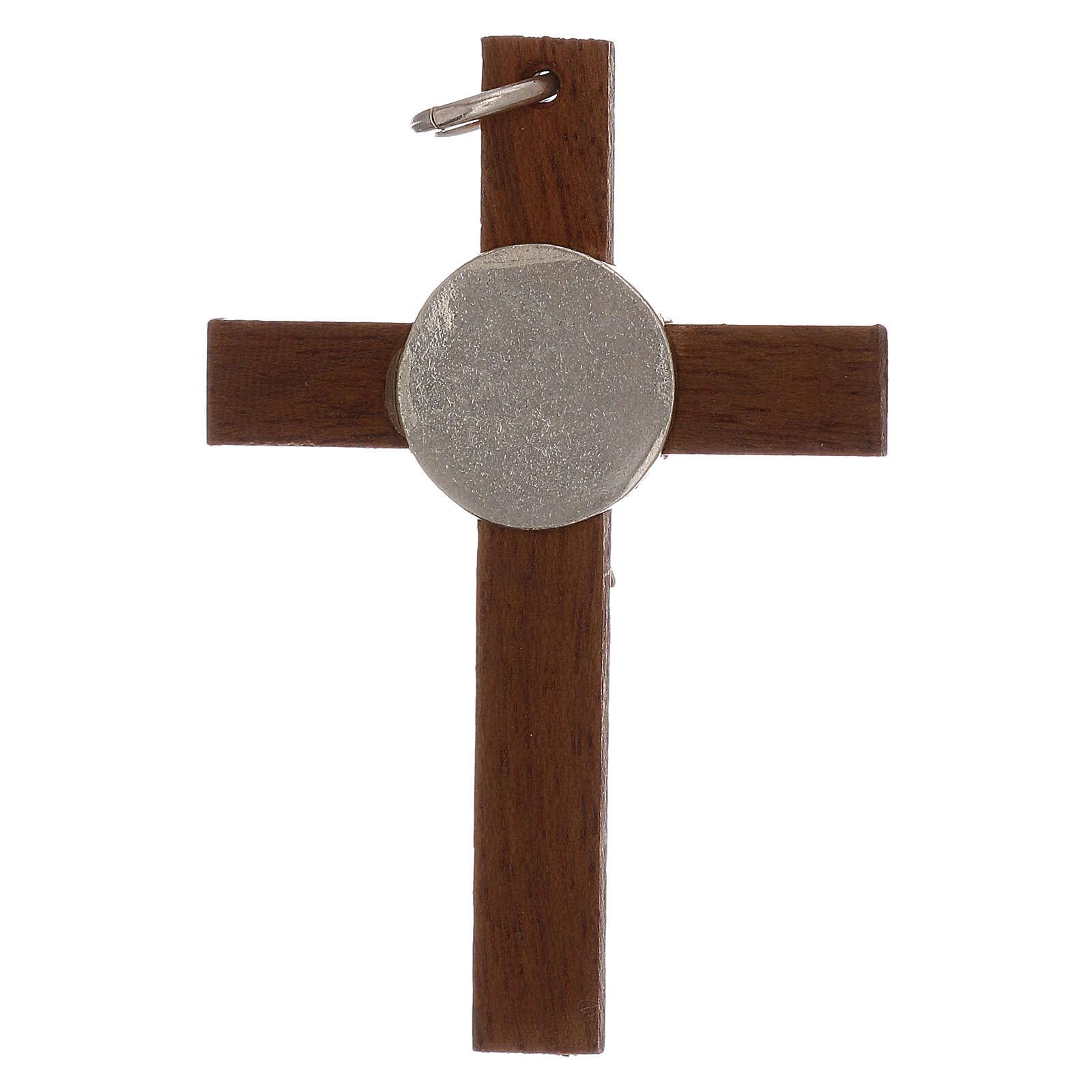 Croce in legno e corpo Cristo 4 cm argento 925 4
