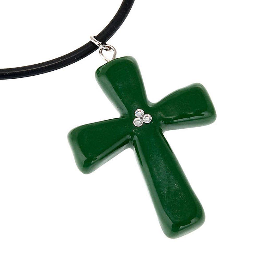 Croce verde con Swarovski 4