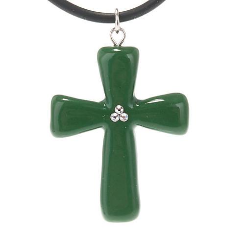 Croce verde con Swarovski 1