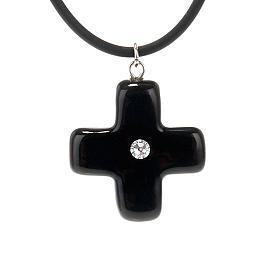 Croce nera con Swarovski s1