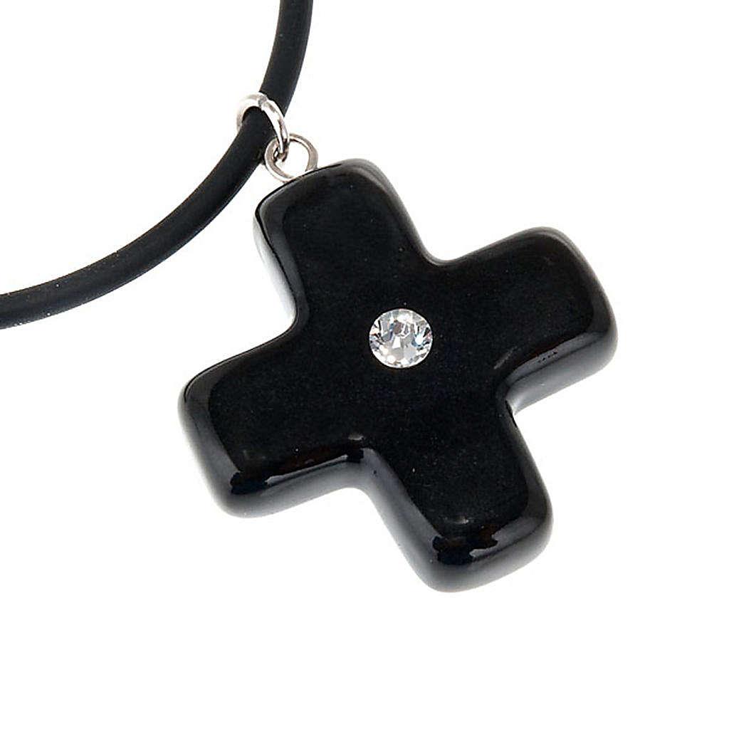 Black cross pendant with Swarovski 4