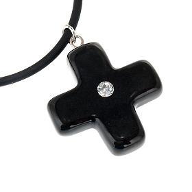 Black cross pendant with Swarovski s2