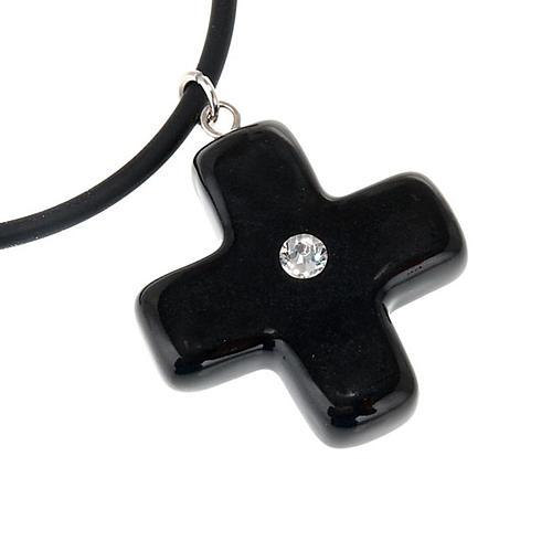 Black cross pendant with Swarovski 2