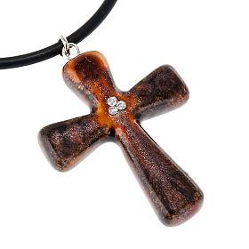 Croce marrone con 3 Swarovski s2