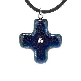 Cruz azul con 3 cristales Swarovski s1