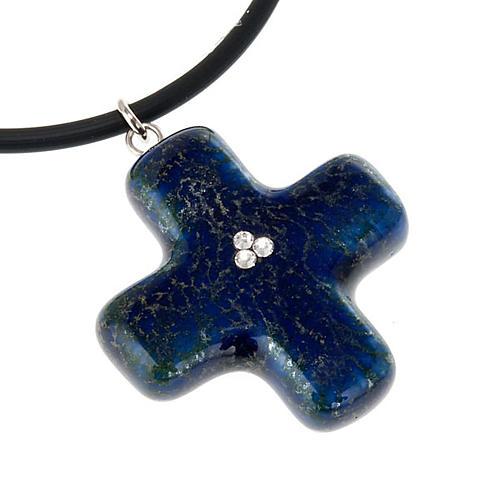 Cruz azul con 3 cristales Swarovski 2