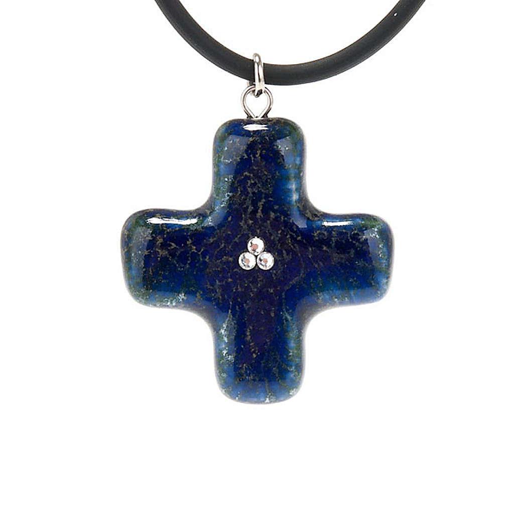 Croce blu con 3 Swarovski 4