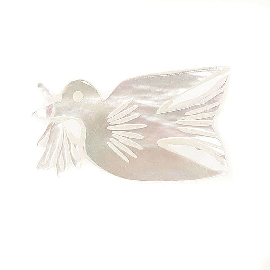 Brosche Perlmutt Taube mit Zweige 4