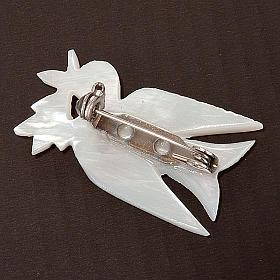 Brosche Perlmutt Taube mit Zweige s2