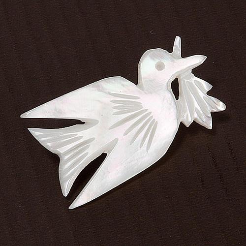 Spilla madreperla colomba con rametto 3