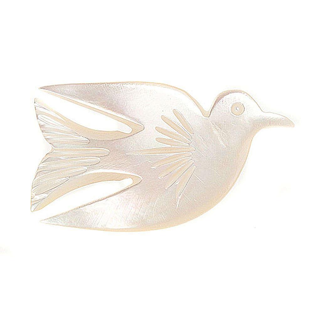 Brosche Mutterperl Taube 4
