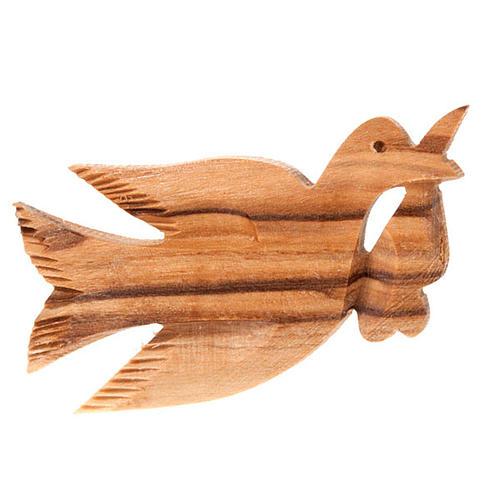 Spilla legno olivo colomba 1